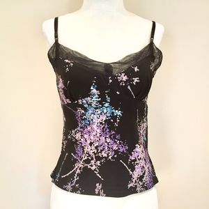 BCBGMaxAzria Tops - BCBGMaxAzria black ultra violet floral cami